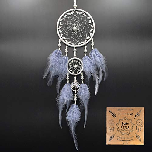 Littlear Dream Catcher Handmade Turquoise Merkaba Dream Catchers with Black Feathers Wall Hanging Home Decor Dia 6 NO.32