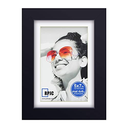 Ophanie 8x10 Picture Frame with 5x7 Mat Photo Frame Made of Solid Wood and High Definition Plexiglass for Wall or Tabletop Display Pictures Black