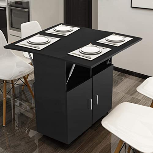 Buy Hadst Kitchen Island With Storage On Wheels Folding Dining Table Kitchen Cart Trolley Buffet Cabinet Storage Cabinet Spice Rack For Kitchens Dining Black Online In Kazakhstan B08y8k9q47