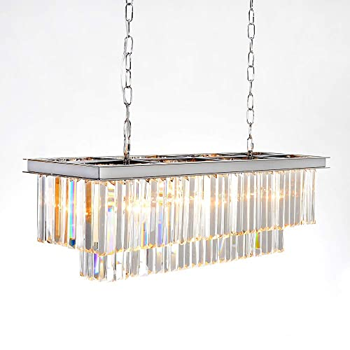 Buy Meelighting Luxury Chrome Rectangular Crystal Chandeliers Lighting Modern Pendant Ceiling Lights Rectangle Chandelier Lamp Fixture 8 Lights For Dining Room Kitchen Island Online In Kazakhstan B07y1vtb5q