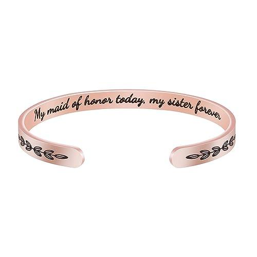 Rose Gold Women Inspirational Encouragement Bracelet Cuff Bangle Stainless Steel
