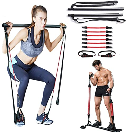 Adjustable Portable Pilates Bar Kit with Resistance Band Full Body Workout US