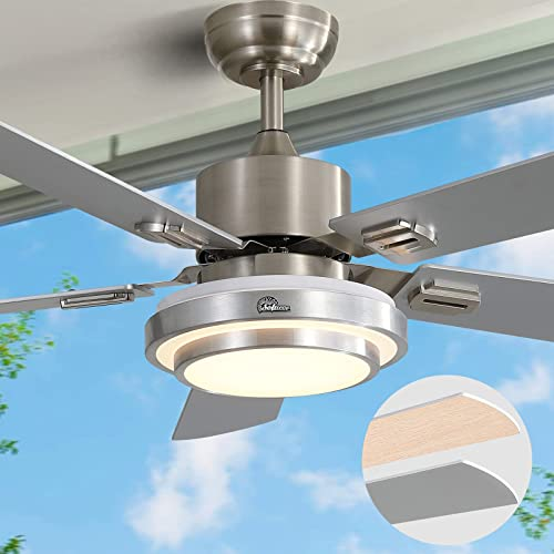 Buy Ceiling Fan With Lights Led Ceiling Fan Ac Motor Modern Ceiling Fan With Remote Control Sofucor 52 Inch Brushed Nickel Flush Mount Ceiling Fan 5 Reversible Silver Blades Noiseless Motor Online In