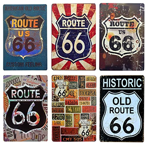 Buy Dd Life 6 Pcs Route 66 Retro Tin Sign Metal Vintage Tin Sign For Home Bar Garage Wall Decoration Online In Kazakhstan B07xkxnjs3