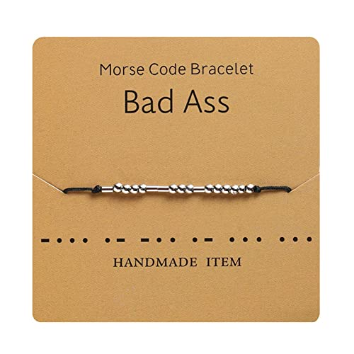 MRSXXNTY Morse Code Bracelet Keep Fucking Going Adjustable Bracelet Beads on Silk Cord Friendship Inspirational Jewelry Gifts for Her