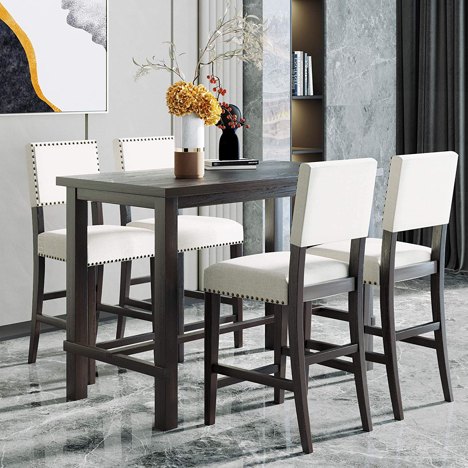 Piece Dining Table Set Counter Height, High Dining Room Tables